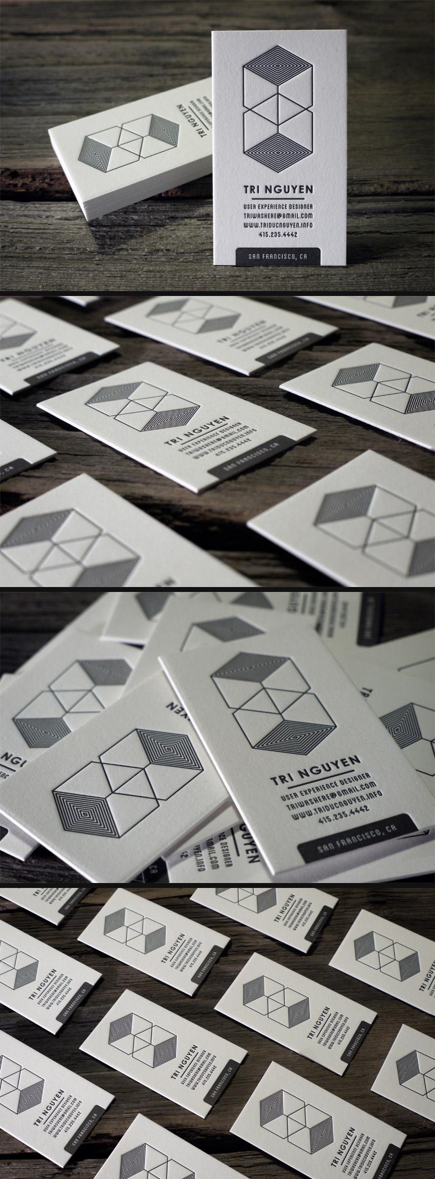 白色凸版名片设计欣赏