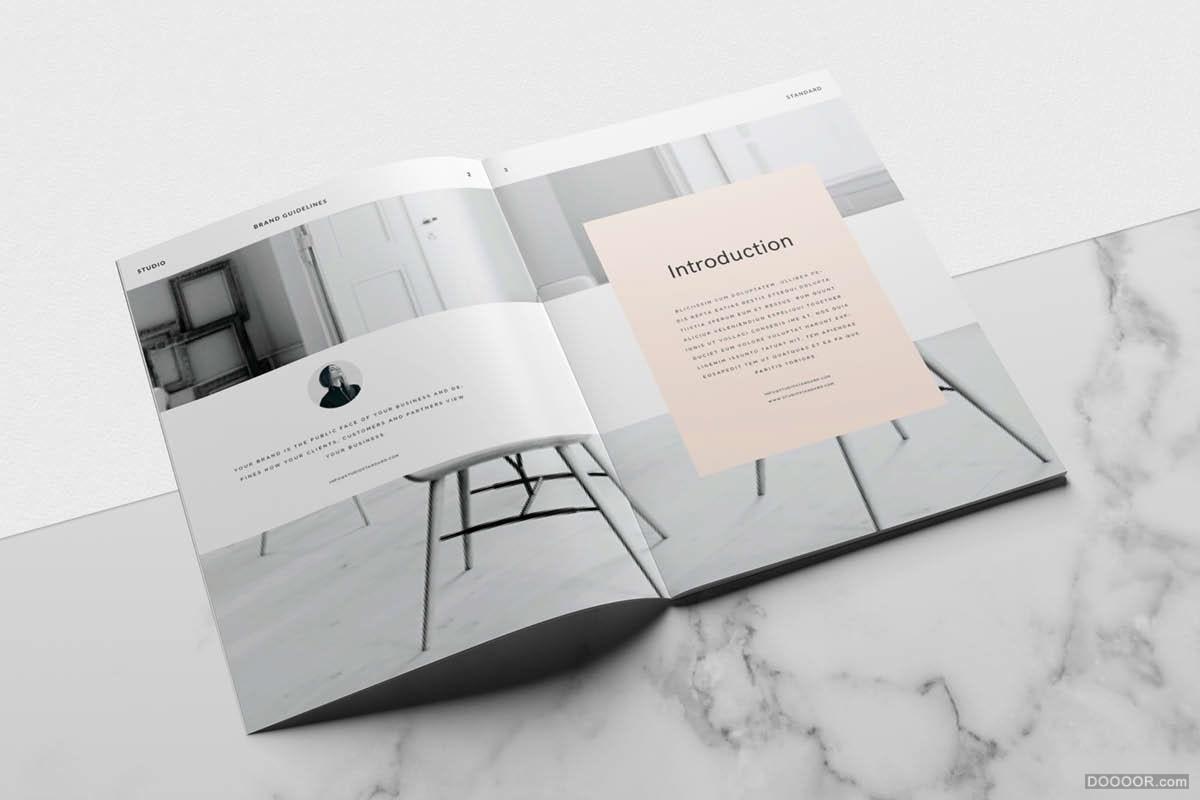 极简主义橘粉色女性风格画册设计 [36] A