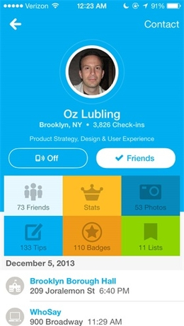 Foursquare ios7界面设计