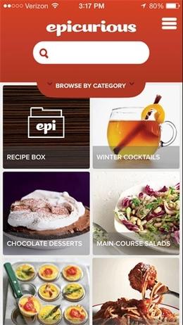 Epicurious的食谱和购物清单应用界面设计