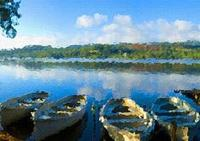 Photoshop教程湖面泊舟風景照制作成油畫效果