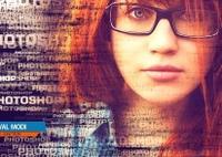 美女肖像照片與數碼文字合成英文視頻教程