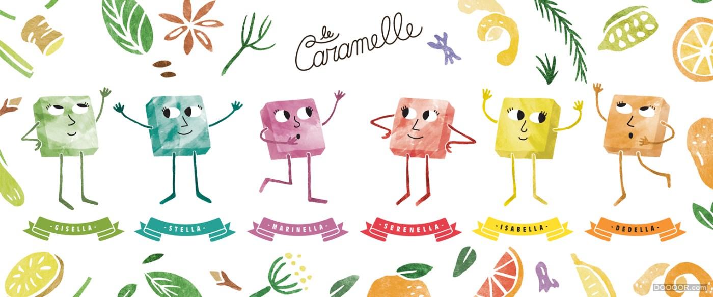 六个迷你小鬼插画糖果盒品牌包装设计
