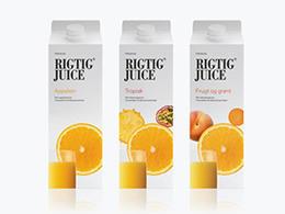 Rigtig Juice丹麦纯色简洁果汁包装包装设计欣赏[附色标/裁切图]