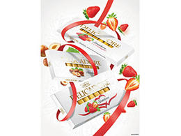 DELICADORE白色情人節巧克力包裝設計草莓榛子椰子