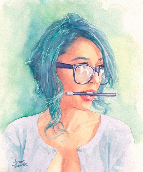 Hector Trunnec漂亮的水彩肖像插画作品