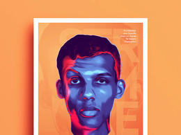 比利时Tarek Okbir霓虹灯风格肖像插画作品