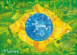 巴西國旗背景創意插畫設計