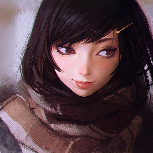 Ilya Kuvshinov风格女孩肖像插画作品欣赏