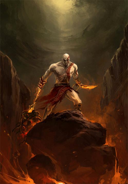 插画欣赏:游戏《战神》系列主角奎托斯Kratos