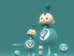 超级可爱的3D卡通插画