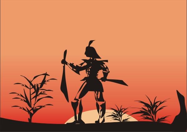 武士和忍者矢量插图欣赏