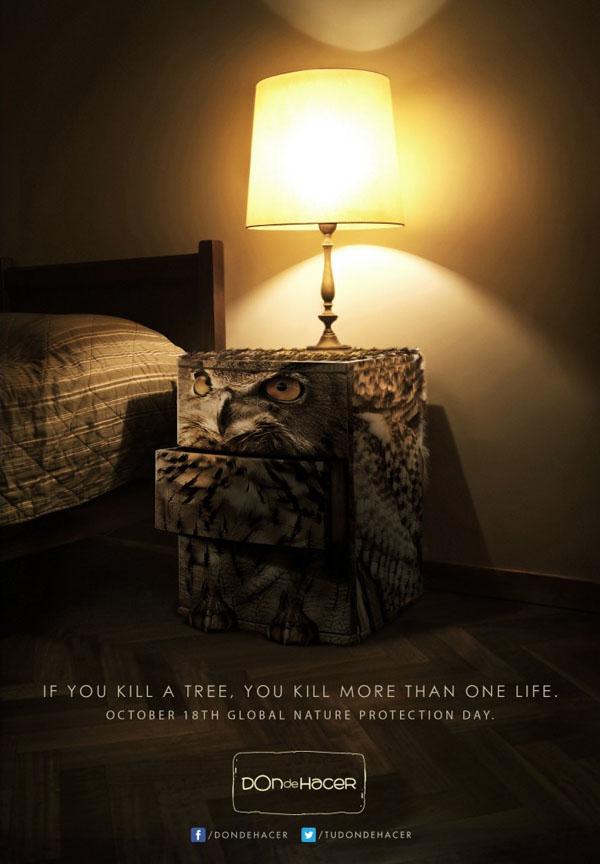 Don de Hacer自然保护宣传广告:杀死的不只是树