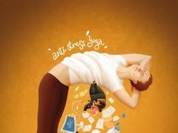 减压瑜伽系列插画创意广告欣赏