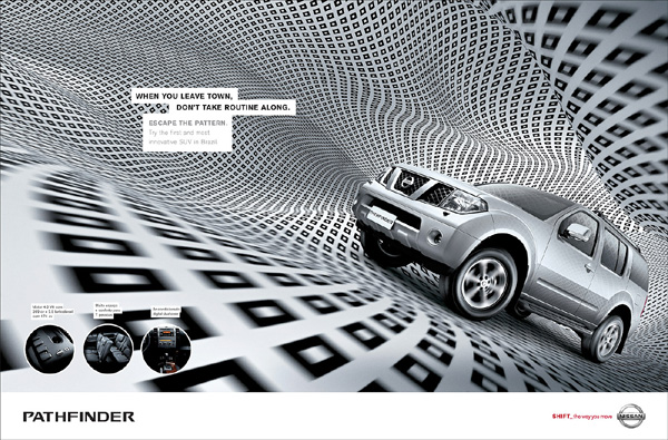不同款尼桑汽车系列宣传广告