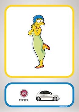 菲亞特500汽車創意卡通廣告設計