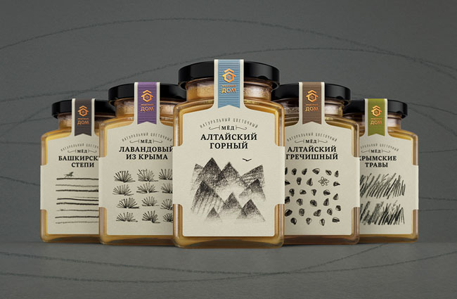 一组俄罗斯蜂蜜包装包装设计欣赏