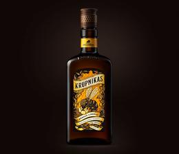 精致的KRUPNIKAS利口酒瓶贴包装设计欣赏