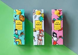 清涼消暑的果汁盒裝設計