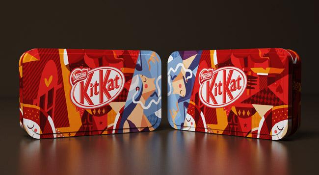 雀巢kit kat奇巧巧克力插畫包裝欣賞