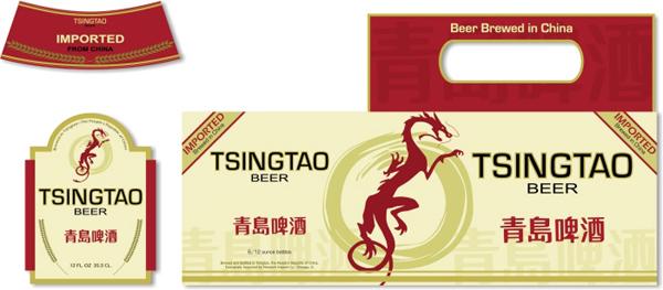 青岛啤酒龙图案版瓶贴及外包装箱