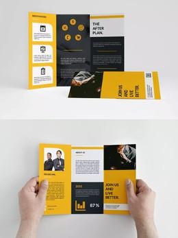黃黑色 企業三折頁設計欣賞