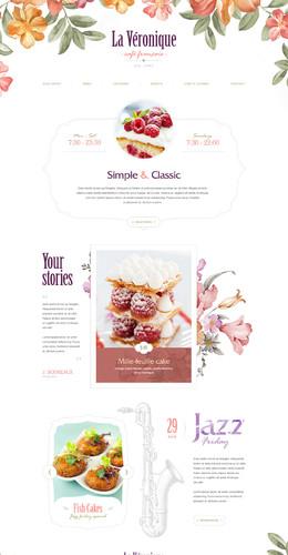 咖啡馆手绘插画春天清新风格专题页面设计