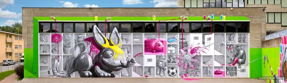 創意墻體及街頭3D涂鴉欣賞