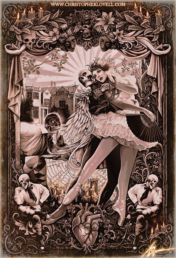 浓郁的软惊悚英国Lovell-Art复古风格角色插画作品欣赏