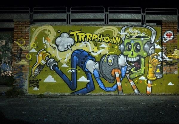 户外墙体涂鸦-怪异与荒诞