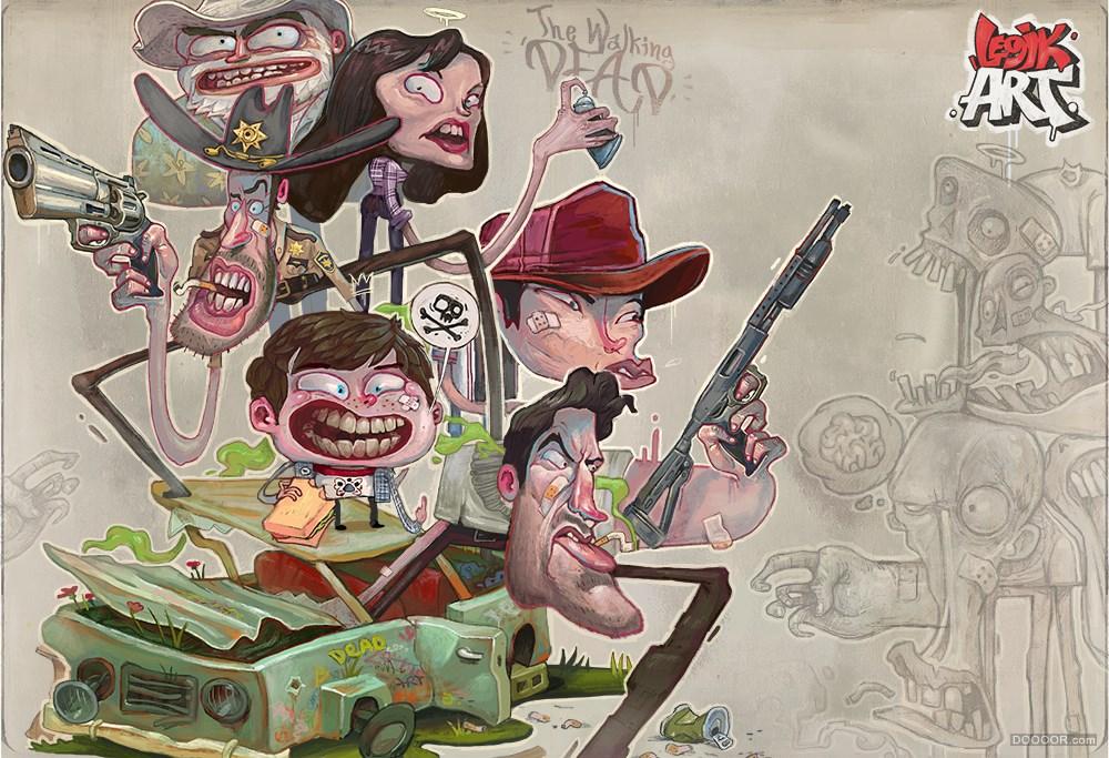俄羅斯聯邦古怪涂鴉風格插畫大作
