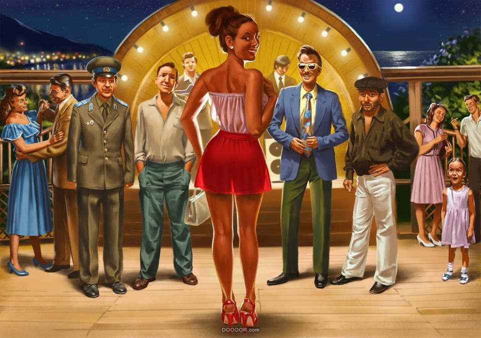 ABSOLUTEY苏联艺术家社会主义风格手绘美女广告海报