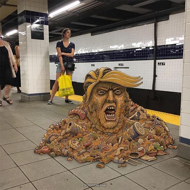 布魯克林與曼哈頓之間的地鐵涂鴉作品