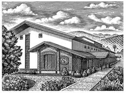 歐式莊園風格建筑單色木刻版畫