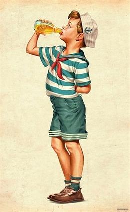 BILZ & PAP饮料二战怀旧版儿童插画宣传广告