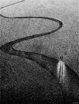 渦旋印記黑色鋼筆畫欣賞-Nicolas Jolly