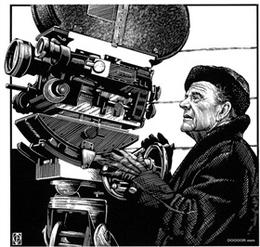 BARTON針管筆版畫風格電影明星插畫