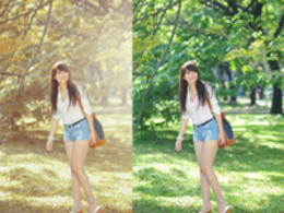 Photoshop调出夏季公园美女秋季淡黄色调