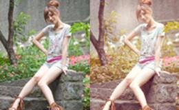 Photoshop給坐石階上的美女加上柔和的粉褐色