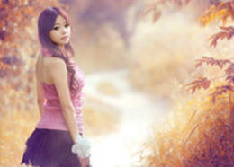 Photoshop給樹林中的美女加上唯美的秋季藍紅色