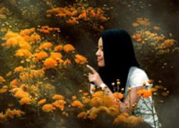Photoshop調出油菜花人像秋季黃色調