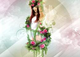 Photoshop合成藤蔓装饰的少女场景