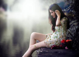Photoshop調出河邊女孩冷色LOMO風格效果