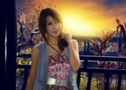 Photoshop给亭子里的美女添加夕阳美景效果