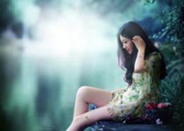 Photoshop调出河边女孩唯美青绿色效果
