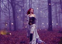 Photoshop合成紫色魔法森林美女人像场景