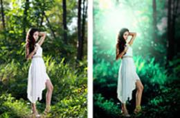 Photoshop打造梦幻的青绿色夏季外景人物图片