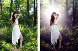 Photoshop打造唯美的透光树林人物图片