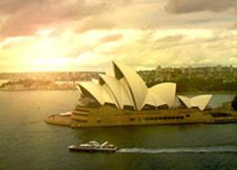 Photoshop給悉尼歌劇院加上霞光效果