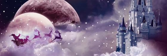 圣誕節夢幻城堡星空海報banner